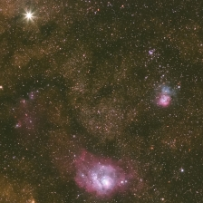 Lagoon Nebula, Trifid Nebula, and Saturn